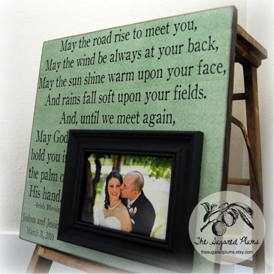 Unique Wedding Gifts Ireland : IRISH BLESSING Personalized Picture Frame 16x16 -May The Road Rise To ...