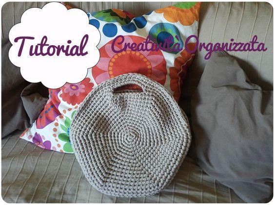 Fettuccia come fare una borsa rotonda tutorial in for Idee creative uncinetto