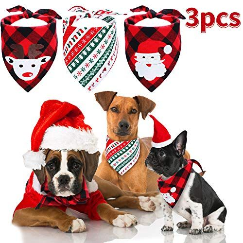 3 Pieces Christmas Dog Bandanas Pet Bandana Santa Claus Elk Pet Scarf Washable Triangle Bibs Kerchief Set Pet Costume Accessor Pet Scarf Pet Costumes Dog Deals