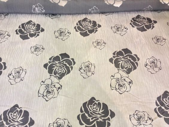 Cream/White with Black rose floral flowers pattern Curtains ...