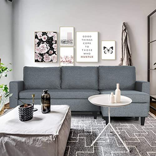 New Oneinmil Convertible Sectional Sofa Couch L Shaped Couch Modern Linen Fabric Small Space Dark Grey Online Shopping Totoppremium In 2020 Sectional Sofa Couch Sectional Sofa Grey Furniture Living Room