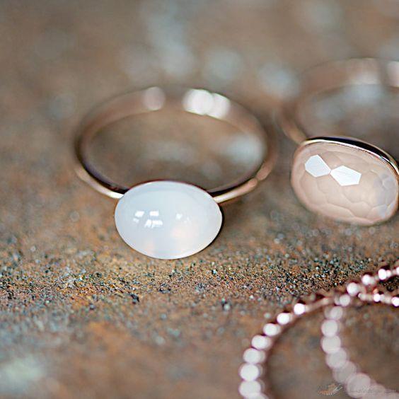 Rosé de la pierre de lune bague en or bijoux par lebenslustiger
