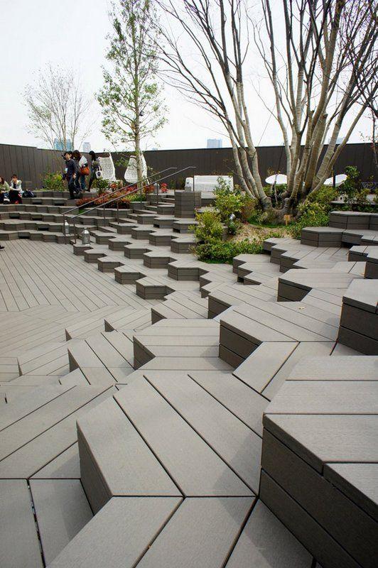 Architecture design hexagons and public for Spaces landscape architecture