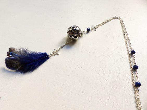 Bola de grossesse, plume bleue et étoile : Collier par mademoiselle-topaze-bijoux