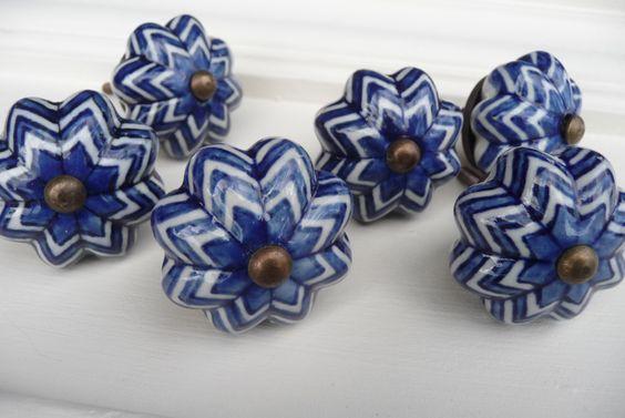 Cobalt Blue & White Ceramic Knob ~ Pumpkin Scalloped Pattern ~ Shabby Chic ~ Squash Knob Drawer Pull - Rustic Romantic Country by RusticBoardwalk on Etsy https://www.etsy.com/listing/208012930/cobalt-blue-white-ceramic-knob-pumpkin