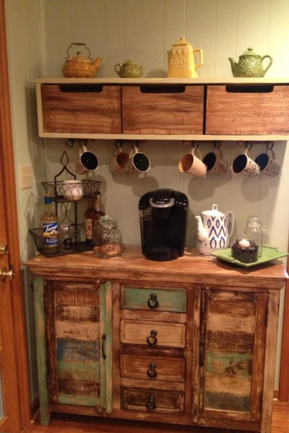 Tea bars coffee and bar on pinterest for Kitchen coffee bar cabinets