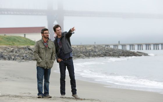 """Another new show set in SF: Al Madrigal (left) as Andy and David Walton as Will in a shot from the """"About a Boy"""" pilot. Photo by Jordin Althaus"""