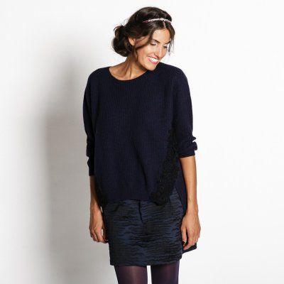 Pullover mit Häkelspitze 'Dkl-Blau'
