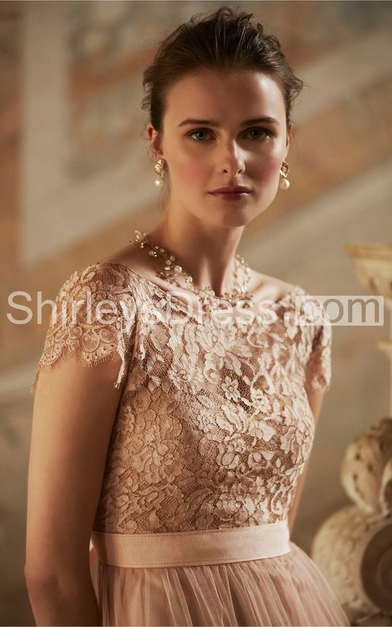 Enchanting Floor-length Empire Tulle Bridesmaid Dress With Lace Bodice