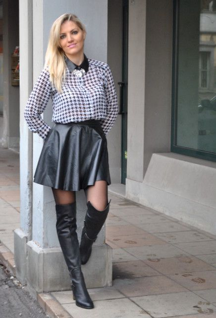 pied de poule shirt and black leather skirt ootd