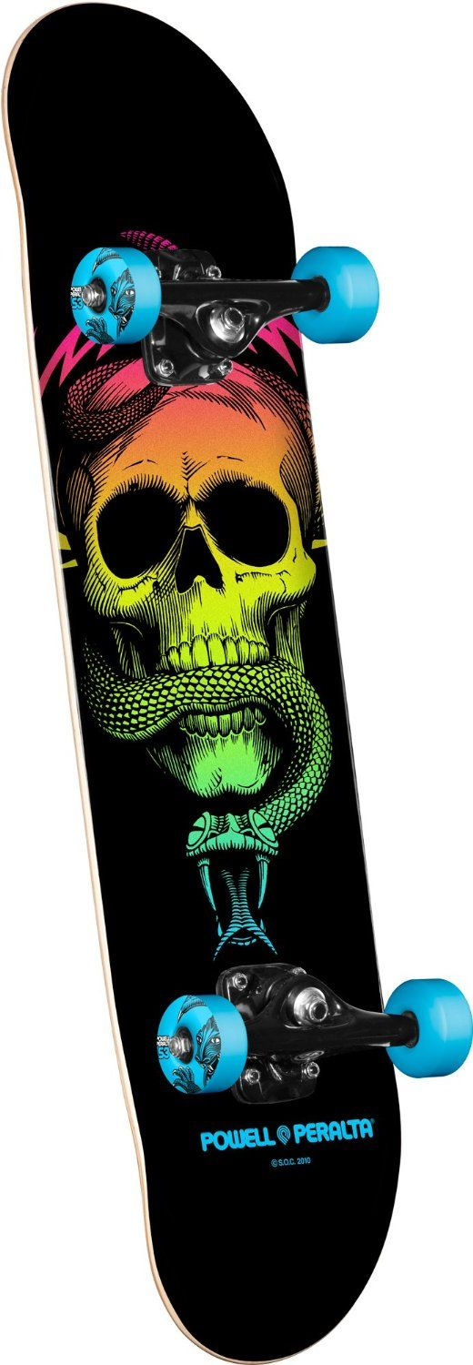 """Powell-Peralta Blacklight Mike McGill Skull and Snake Complete Skateboard. Powell-Peralta 'Blacklight' assembly; High quality skateboard with the brand strength of Powell-Peralta; Equipped with Mini Logo trucks and bearings Length: 31.625"""" Skate One Corp. Shape: 126 Concave: K12 All Powell-P..."""