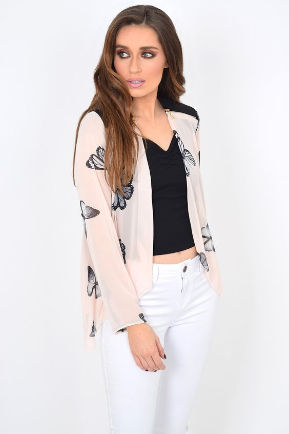 DESCRIPTION  Butterfly Print Contrast Zip Detail Waterfall Jacket. Sits at the hip. Zip shoulder detail. Open front with long sleeves No fastening Nude Colour. 95% polyester 5% elastane.  Only one size 12 left in stock.