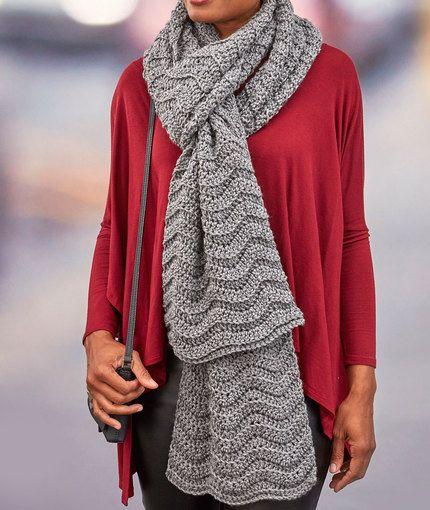 Wavy Ridge Super Scarf - free crochet pattern by Heather Lodinsky for Red Heart. Aran weight.