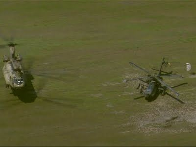 Big Chopper Lifts Gunship From Muddy Field. Officials say a Chinook helicopter rescued a AH-64 Apache  from a muddy field near Houston after it had mechanical troubles and made an emergency landing. (Sept. 2)