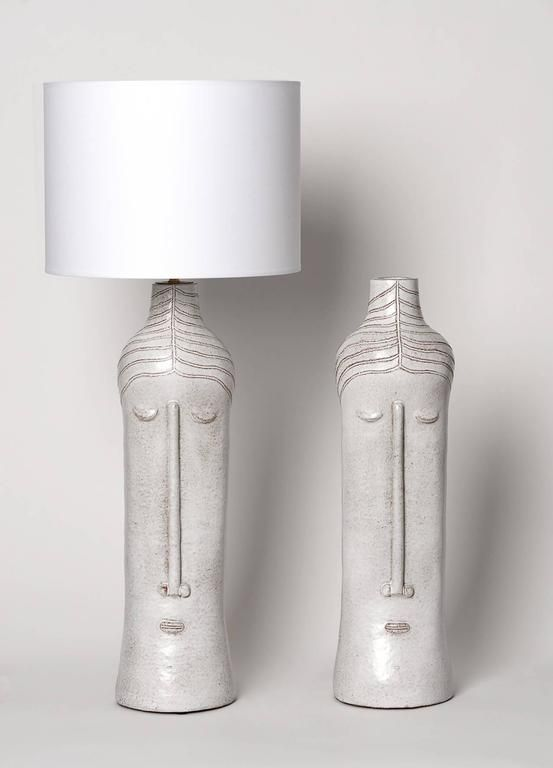 Pair Of Ceramic Base Lamps With Stylized Faces In Beige Glazed