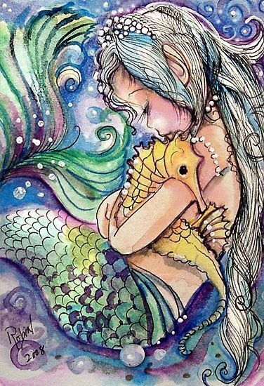 Just a Little Mermaid with her favorite pet