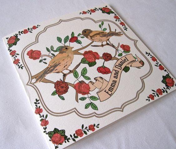 Love Birds Wedding Invitation By Paper Delights www.weddingstationery.co.uk