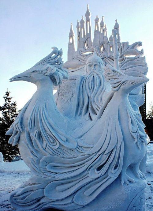 chinese phoenix snow sculpture #snowSculpture #snow #winter #sculpture