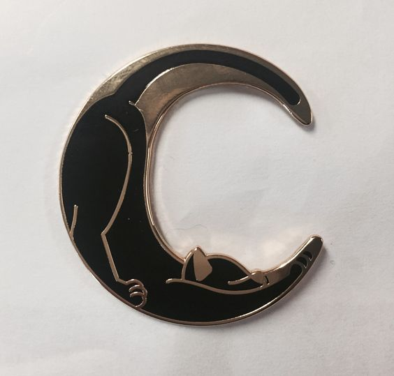 Image of Catmoon 1.5 inch hard enamel pin