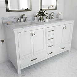 Home Decorators Collection Franklin Square Collection 60 Inch Bathroom Vanity In White Wit Bathroom Vanity Tops Home Depot Bathroom Vanity Home Depot Bathroom
