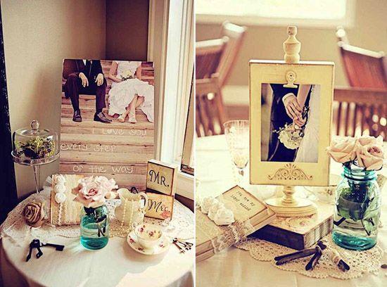 Fabulous  spitze hochzeitsdekoration vintage fotos bilderrahmen buch dekoration Kaffeetasse Hochzeit Deko Idee u Spitze ist spitze Dekoideen Hochzeit Pinterest