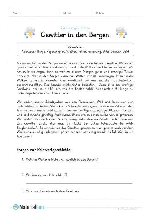 Reizwortgeschichten Materialguru In 2020 Deutsch Lernen Kinder Deutsch Aufgaben Unterricht Lesen