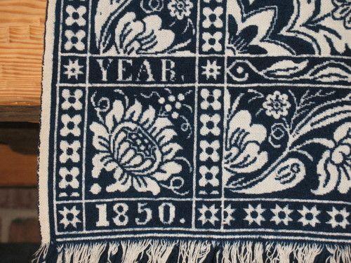 Sara Latourette 1850 Dated Double Jacquard Indigo Coverlet Excellent Condition | eBay