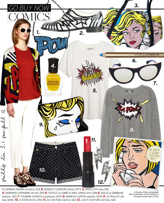 Comics - Celebrity Style and Fashion from WhoWhatWear: Comics Whowhatwear, Pop Art Costume Outfit, Comic Book, Pop Art Comics, Comics Collection, Comics Celebrity, Comic Fashion