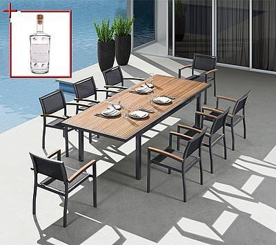 Bellasole Gartenmobelset Melbourne 9 Tlg 8 Sessel Tisch 180 240 Alu Holz Textil Schwarz Auf Rechnung K Gartenmobel Gartentisch Alu Gartenmobel Set Holz