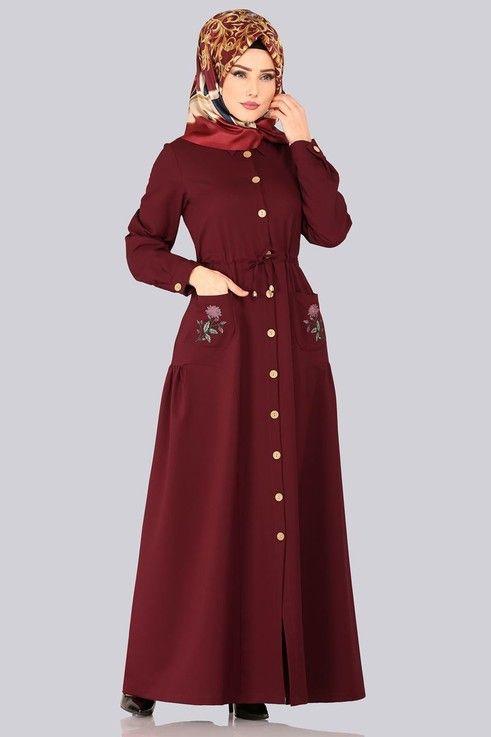 Modaselvim Elbise Cebi Nakisli Elbise Ferace 5081ay342 Bordo Abayas Fashion Fashion Dresses