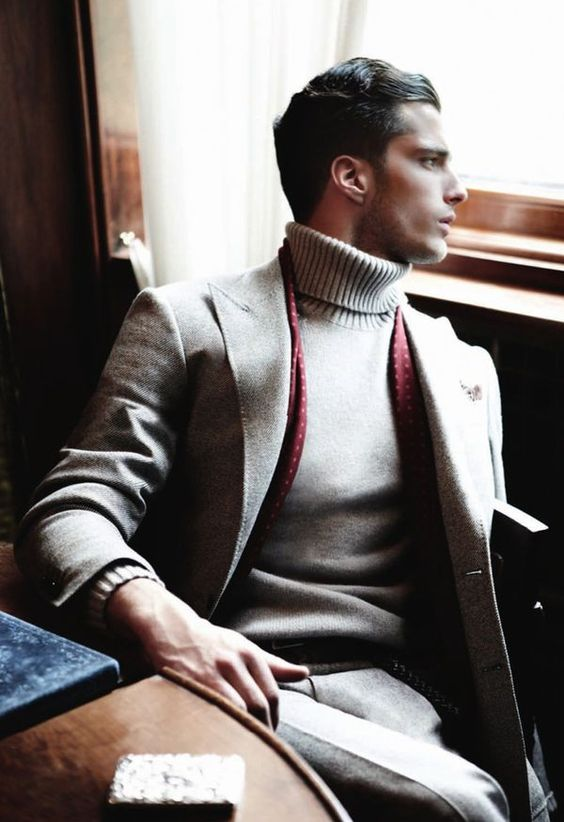Roll or Turtle neck jumper under a suit / tweed jacket
