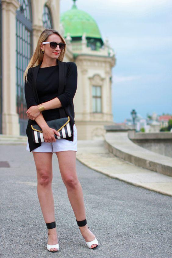 shorts - Forever 21 / top - Zara / vest - Mango / heels - Deichmann / earrings & bracelet - Koni Design Vienna / clutch - Vero Moda