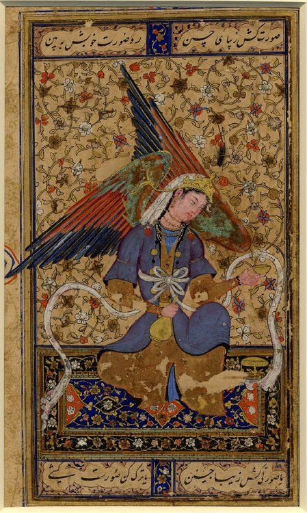 """An angel seated on a carpetBukhara, Shaybanid dynasty about 1550 AD""""The scrolling decoration in the background of this painting is characteristic of the schools of Bukhara and Khurasan. The figure, however, derives from a well-known Persian portrait of a seated woman, here transformed into an angel by the addition of wings. This lovely winged angel sits on a 16th century Persian carpet and holds a golden flask and cup in each hand. The long sashes flowing from Buddhist depictions of celest:"""