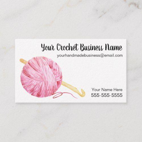 Pink Watercolor Yarn Crochet Business Card Zazzle Com In 2021 Crochet Business Watercolor Business Cards Handmade Business