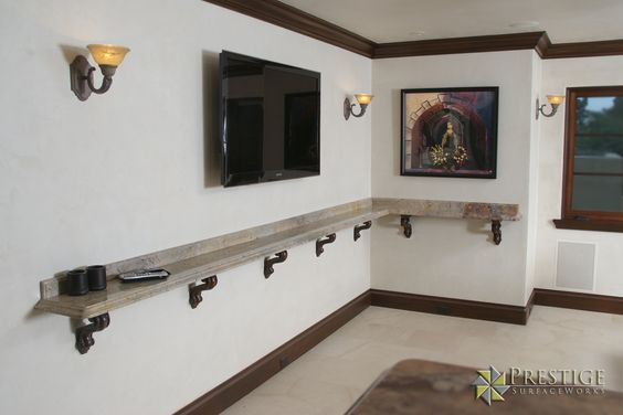 Granite Drink Rail in wine room.