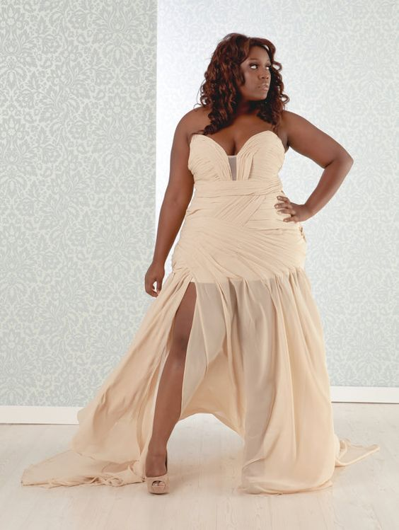 Plus Size Wedding gown chiffon high slit with a by RealSizeBride, $799.00