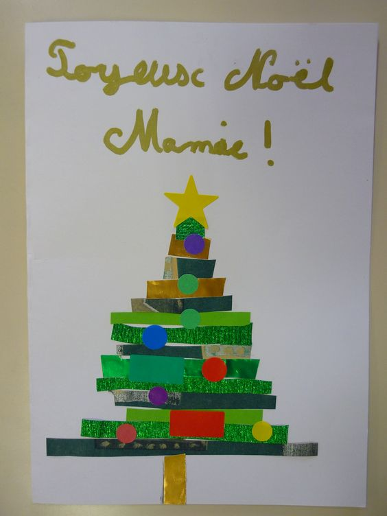 Carte de Noël sapin CM: