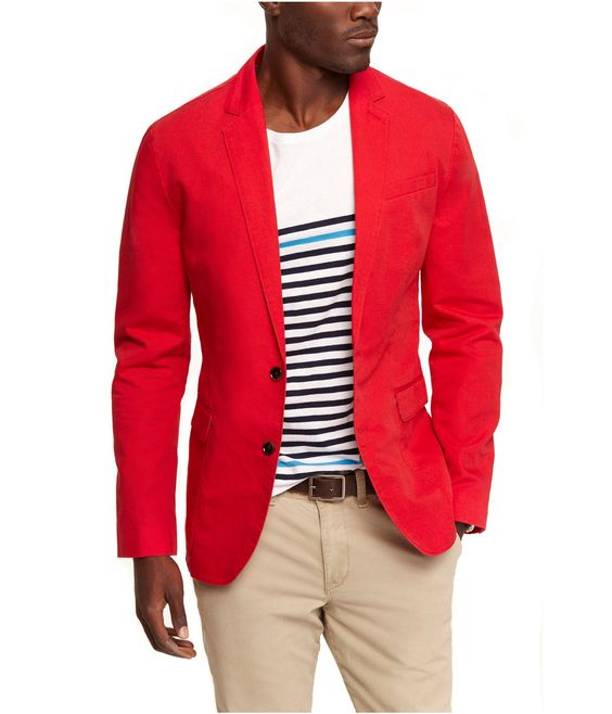 Mens Red Linen Blazer