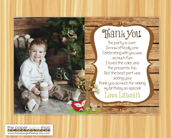 Woodland Creatures Thank You Card with Photo | Woodland Creatures Theme Thank You Card | Forest Friends Thank You Card by ThePaperGiraffeShop on Etsy