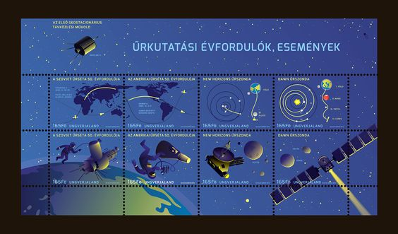 Beautiful stamps for space exploration anniversary