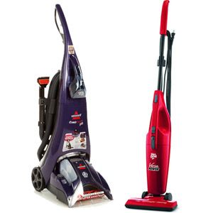 Bissell ProHeat Pet Upright Deep Cleaner with Bonus Dirt Devil Versa Power All-In-One Stick Vacuum