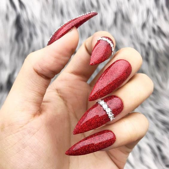 50 Christmas Red Stiletto Nail Art Ideas Easy Designs For
