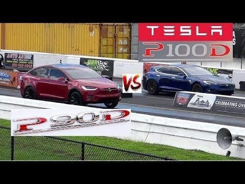680 Hp Tesla S P100d Vs 536 Hp Tesla X P90d Quiet 1 4 Mile Drag Race Med Bilder