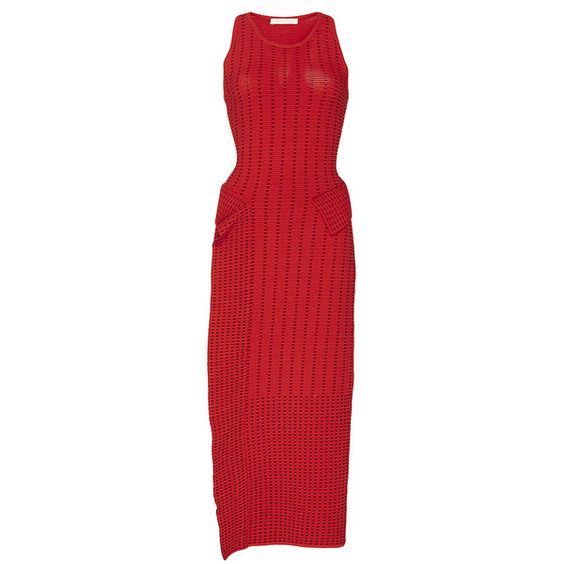 Jonathan Simkhai     Dasha Knit Slit Dress ($545) ❤ liked on Polyvore featuring dresses, red, red knit dress, jewel neckline dress, knit dress, pencil dress and sleeveless pencil dress
