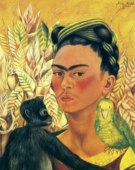 Self-Portrait with Monkey and Parrot, Oil by Frida Kahlo (1907-1954, Mexico)