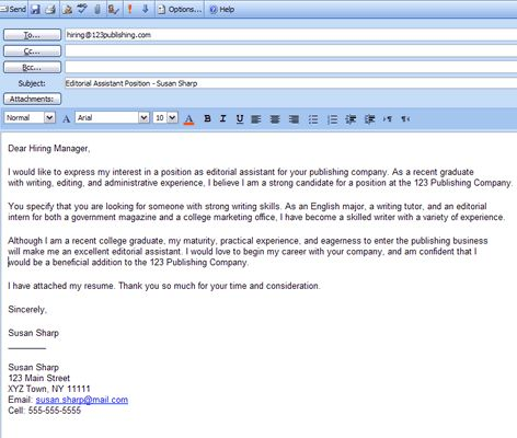 What to Include in a Cover Letter for a Job Cover letter example - cover email for resume