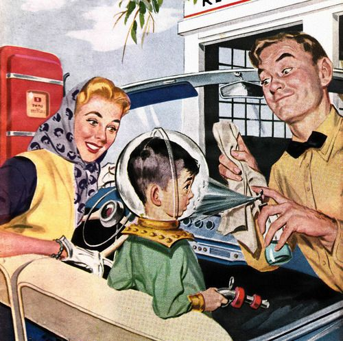 Full Service, detail from Motor Magazine cover, May 1955.