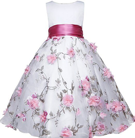 Amberry Little Big Girl's Embroidery Flower-Applique Sash Dress (6, Pink)
