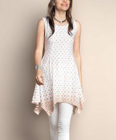 Another great find on #zulily! Beige & White Gradient Dot Sleeveless Handkerchief Tunic - Plus #zulilyfinds