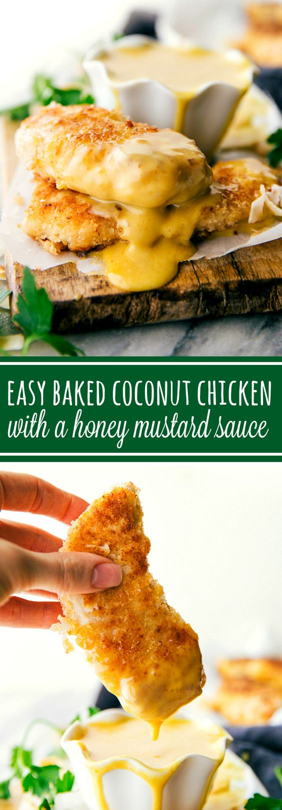 Delicious and simple baked coconut-crusted chicken tenders with an easy five-ingredient honey mustard dipping sauce.